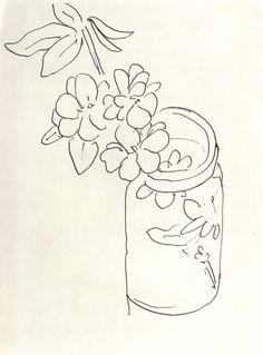 """Henri Matisse - Fauvisme - Drawing - """"Fleurs Dans un Pot en Verre"""""""