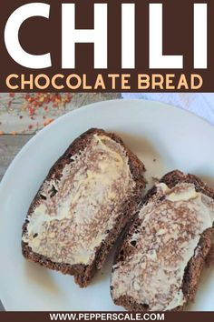 Chili chocolate bread is delicious as a breakfast bread, but don't overlook it as an afternoon snack. A slice smothered with butter and a cup of hot cocoa or coffee ranks up there for me as one of the greatest afternoon pick-me-ups ever. #chilichocolatebread #chocolatebread #breakfastbread #chilichocolate