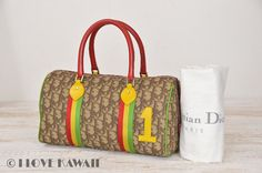 Christian Dior Beige Trotter / Multi Color Leather Hand Bag
