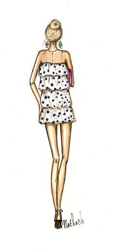fashion illustration fashion sketch girl polka dots