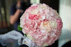 Blush Pink Roses Hydrangea Carnations - tell florist I like how carnations are hidden within hydrangeas