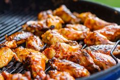 Buffalo Chicken Wings Grilling on a Weber Grill
