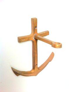 Vintage Solid Brass Anchor Hook by SHUNTLA on Etsy, $10.00