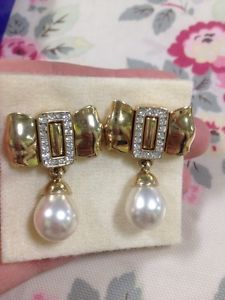 Vintage CABOUCHON CRYSTAL BOW PEARL Earrings Pierced Stylish Large Designer BOX