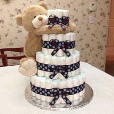Diaper Cake with Teddy