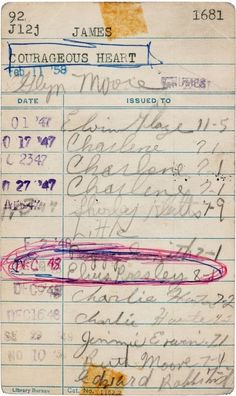 Borrowers card for library book  - Elvis Presley, like Alan Turing, Dr. Seuss, and Ray Bradbury, was library fan. This library card signed by 13-year-old Elvis is the King's earliest known signature.  - (Source: , via explore-blog)