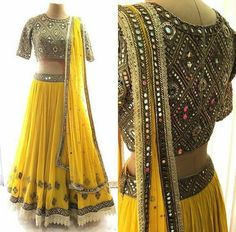 Yellow and antique gold lehenga choli with mirror embroidery