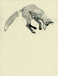 Jumping Fox Print by LittleGypsybones on Etsy, $25.00