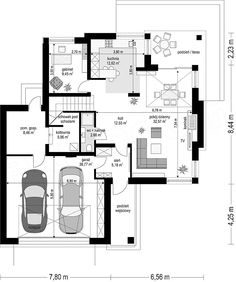 Rzut parteru projektu Riwiera 4 Home Design Floor Plans, House Floor Plans, Modern House Facades, Compact House, Lobby Design, Facade House, Architecture Plan, Future House, New Homes