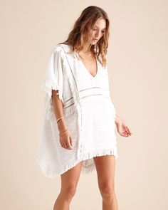 Suboo Castaway Kaftan in white - Clothing.  Matched with a faux summer glow and strappy sandals this kaftan will have you dreaming of summery days.  www.birdmotel.com.au