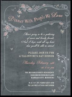 Valentine's Day Party Invitation - Dinner With People We Love. Chalkboard Chow:Charcoal. Tiny Prints.