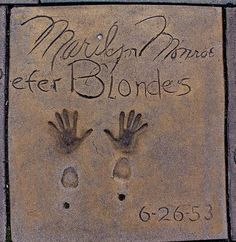 "Marilyn Monroe's hand & foot prints - Grauman's Chinese Theater after ""Gentlemen Prefer Blondes"" 1953"