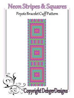Neon+Stripes+and+Squares-+Peyote+Bracelet+Cuff+Pattern