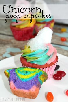We've made unicorn poop cookies, cakes, and even sandwiches. But today we made these adorable little unicorn poop cupcakes!