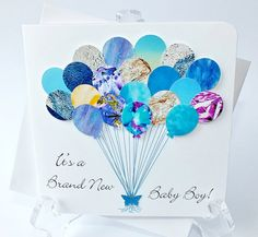 Handmade 3D Personalised New Baby Boy Card  Blue by CardsbyGaynor, £3.95