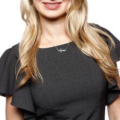 La Preciosa Sterling Silver Sideways Cross Necklace | Overstock.com