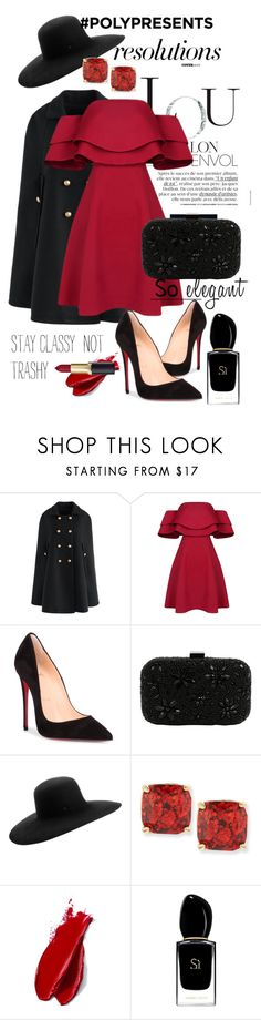 """#PolyPresents: New Year's Resolutions"" by auriqa ❤ liked on Polyvore featuring Chicwish, Christian Louboutin, Santi, Maison Michel, Kate Spade, Balmain, Giorgio Armani, contestentry and polyPresents"
