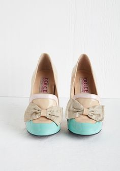 Spring is in the Aria Heel. Whatever the weather, wearing these glossy heels from Dolce by Mojo Moxy puts a melody in your heart! #tan #wedding #modcloth