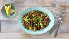 Grønnsaksspagetti med biffstrimler