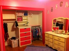 Minus the pink, great closet idea for our small closet space.
