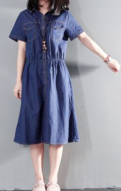 6062eb65b33 Navy blue summer denim dress tunic casual denim sundress plus size thin for  summer. Linen Dresses ...