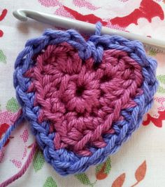 Crochet heart raised edging