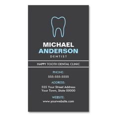 Stylish, dark gray dental business card featuring a blue tooth logo. A modern design great for an oral surgeon, dentist, dental assistant, hygienist, periodontist, orthodontist or anyone else working with oral health.