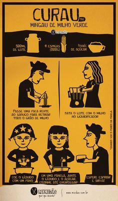 Receita ilustrada de Curau de milho verde (Mingau de milho). Uma ótima receita para as festas juninas e é muito fácil de preparar. Ingredientes: milho, açúcar e leite.