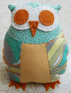 Deluxe Baby Owl Kit in Citrus color: Includes Pattern, Fabric, Stuffing, and Mini Sewing Kit in a tin. $15.00, via Etsy.