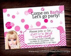 pink barbie invite on Etsy, a global handmade and vintage marketplace.