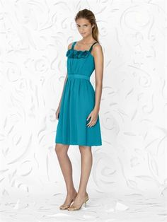 Cocktail length spaghetti straps chiffon bridesmaid dress BD0040