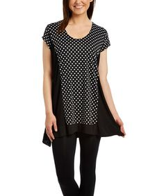 Look what I found on #zulily! Black Polka Dot Scoop Neck Tunic - Plus #zulilyfinds
