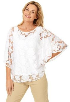 Ruby Rd. Floral Lace Butterfly Top 81445 Front