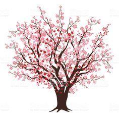Flor de cereja rosa e vermelho árvore em pleno Bloom download vetor e ilustração royalty-free
