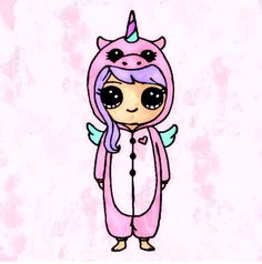 kawaii girl drawing in onsie Kawaii Disney, 365 Kawaii, Cute Kawaii Girl, Kawaii Art, Chibi Unicorn, Real Unicorn, Cute Unicorn, Kawaii Girl Drawings, Cute Girl Drawing
