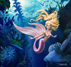 "The pink mermaid with long hair as Rapunzel. - Art by Jozef Szekeres. -  Board ""Art-Jozef Szekeres"". -"