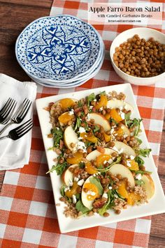 Apple Farro Bacon Salad with Candied Garbanzo Beans at ReluctantEntertainer.com