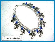 """Game of Thrones Inspired Dragon Charm Bracelet Custom Sizable from 6"""" to 12"""". Blue Beaded Bracelet Unisex - Wedding bracelets (*Amazon Partner-Link)"""