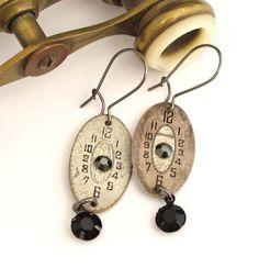 Vintage Watch Dials OOAK Earrings Edwardian Victorian Gunmetal Exclusive Design By Mystic Pieces. $46.00, via Etsy.