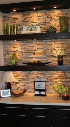 Wall design ideas with natural stones that add to the beauty of your home 45 Brick Wall Drawing, Decorative Stone Wall, Dark Walls Living Room, Living Rooms, Office Wall Graphics, Stone Wall Design, Stone Accent Walls, Dark Grey Walls, Home Bar Designs