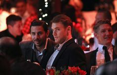 """"""" Manuel Neuer Bastian Schweinsteiger and Thomas Mueller attend the FC Bayern Muenchen christmas party at Schuhbeck's Teatro restaurant. Soccer Guys, Soccer Players, Bastian Schweinsteiger, German Boys, Attractive People, We Heart It, Germany, Handsome, Manuel Neuer"""