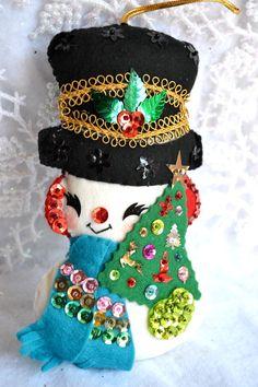 Vintage Christmas Ornament  Plush Felt Jeweled by pumpkintruck