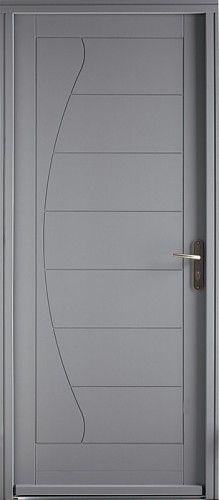 Porte bois, Porte entree, Bel'm, Contemporaine, Poignee plaque couleur argent, Sans vutrage, Onde