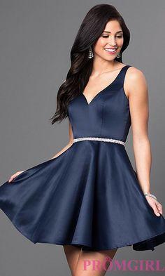 Short Circle Skirt V-Neck Homecoming Party Dress