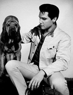 Elvis with a bloodhound