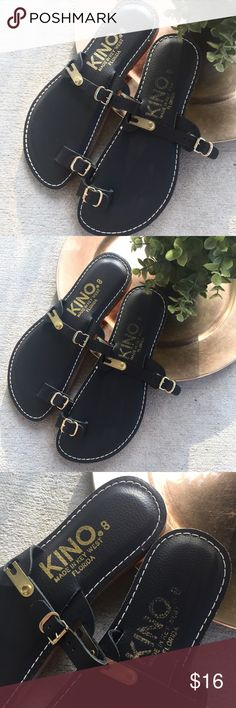 Kino Black Leather Flip Flops  Kino  Womens US8  Black Leather Flip Flop Sandals Shoes  Made In Key West Florida  Preowned excellent condition kino Shoes Sandals