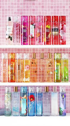 Shop fine fragrance body sprays and mists from Bath & Body Works. With wide variety of scents, they'll all be on your wish list soon. Bath N Body Works, Bath And Body Works Perfume, Perfume Organization, Bathroom Organisation, Victoria Secret Fragrances, Perfume Collection, Body Mist, Beauty Room, Body Spray