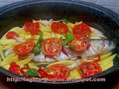 Λαβράκι ψητό στη γάστρα Greek Beauty, How To Cook Fish, Better Life, Fish Recipes, Food Network Recipes, Seafood, Chicken, Vegetables, Cooking Fish