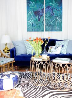 Eclectic living room with blue velvet sofa, zebra rug, and bronze bunching tables. Neutral Curtains, Boho Curtains, Ikea Curtains, Floral Curtains, Curtains Living, Rustic Curtains, Colorful Curtains, Hanging Curtains, Shower Curtains