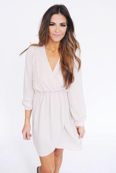 Long Sleeve Chiffon Dress- Cream - Dottie Couture Boutique
